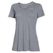 Under Armour Tech V-Neck Slub Womens T-Shirt, Steel-Metallic Silver, medium