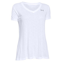 Under Armour Tech V-Neck Slub Womens T-Shirt, White-Metallic Silver, 256