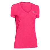 Under Armour Tech V-Neck Slub Womens T-Shirt, Harmony Red-Metallic Silver, medium