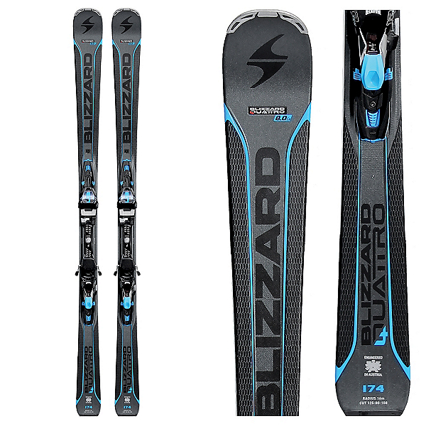 Blizzard Quattro 8.0 CA Skis with TCX 12 Bindings 2018, , 600