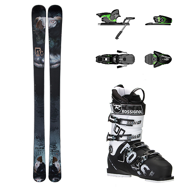 Icelantic Pilgrim, Salomon Z12, and Rossignol Allspeed 100 Ski Package, , 600