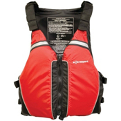 Extrasport Universal Adult Kayak Life Jacket, Red-Black, medium