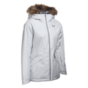 Under Armour ColdGear Infrared Kymera with Faux Fur Womens Insulated Ski Jacket, Glacier Gray-Glacier Gray-Steel, medium