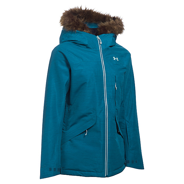 Under Armour ColdGear Infrared Kymera with Faux Fur Womens Insulated Ski Jacket, Peacock-Aqua Falls-Crystal, 600