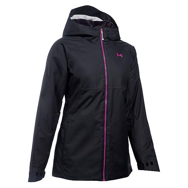 Under Armour ColdGear Infrared Snowcrest Womens Insulated Ski Jacket, Black-Glacier Gray-Magenta Shock, 600