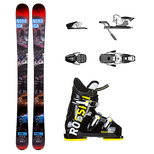 Nordica Ace Comp J3 Kids Ski Package, , 600
