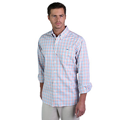 Fish Hippie Crawford Tattersall Mens Shirt, Heritage Blue-Coral, viewer