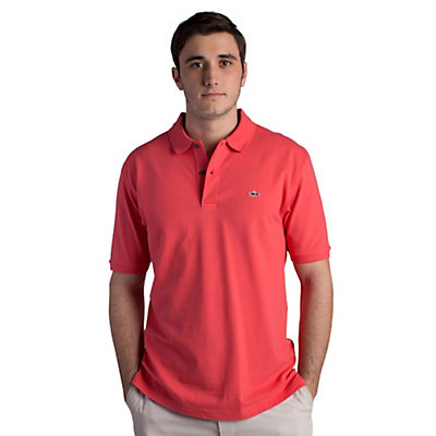 Fish Hippie Salterpath Polo Mens Shirt, Dockside Coral, viewer