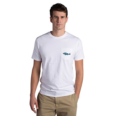 Fish Hippie Backwater Red Pocket Mens T-Shirt, White, viewer