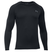 Under Armour Base 3.0 Crew Mens Long Underwear Top, Black-Steel, medium