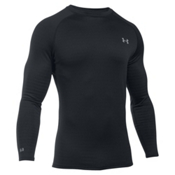 Under Armour Base 4.0 Crew Mens Long Underwear Top, Black-Steel, medium