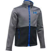 Under Armour ColdGear Infrared Softershell Boys Softshell Jacket, Graphite-Black-Ultra Blue, medium