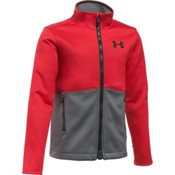 Under Armour ColdGear Infrared Softershell Boys Softshell Jacket, Red-Graphite-Black, medium