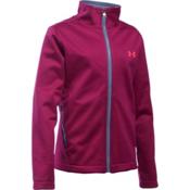 Under Armour ColdGear Infrared Softershell Girls Softshell Jacket, Black Cherry-Aurora Purple-Pin, medium