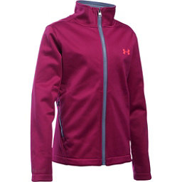Under Armour ColdGear Infrared Softershell Girls Softshell Jacket, Black Cherry-Aurora Purple-Pin, 256