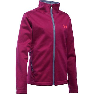 Under Armour ColdGear Infrared Softershell Girls Softshell Jacket, Black Cherry-Aurora Purple-Pin, viewer