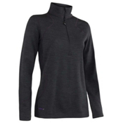 Terramar Thermawool Half-Zip Womens Long Underwear Top, Black Heather, medium
