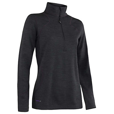 Terramar Thermawool Half-Zip Womens Long Underwear Top, Black Heather, viewer