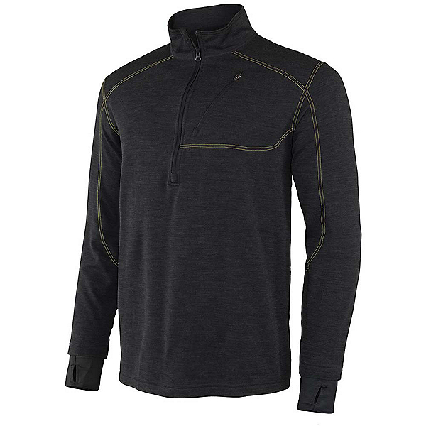 Terramar Thermawool Half-Zip Mens Long Underwear Top, Smoke Heather, 600