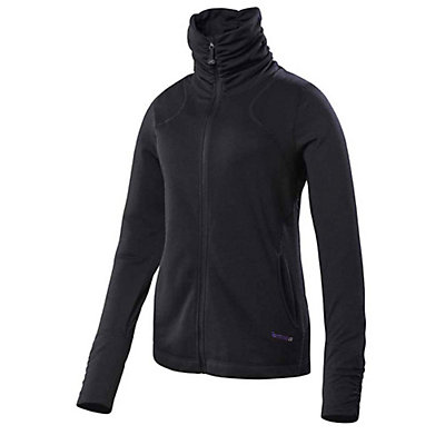 Terramar Thermawool Full-Zip Womens Long Underwear Top, Black Heather, viewer