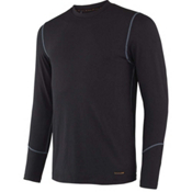 Terramar Thermolator Crew with Mesh Mens Long Underwear Top, Black, medium
