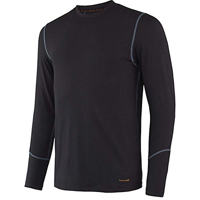 Terramar Thermolator Crew with Mesh Mens Long Underwear Top, Black, viewer