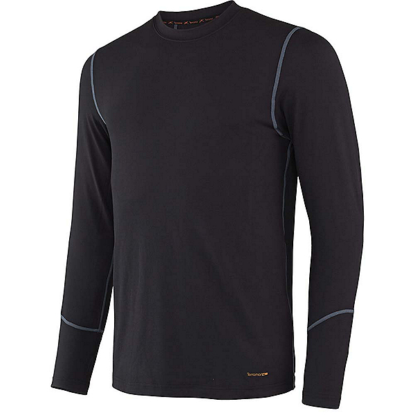Terramar Thermolator Crew with Mesh Mens Long Underwear Top, Black, 600