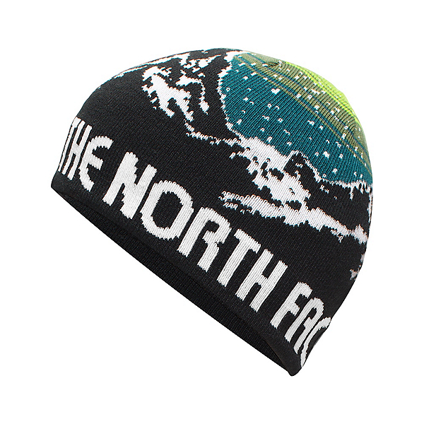 The North Face Youth Anders Beanie Kids Hat, TNF Black-Chive Green, 600
