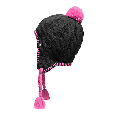 The North Face Girls Fuzzy Ear Flap Beanie, TNF Black-Cabaret Pink, viewer