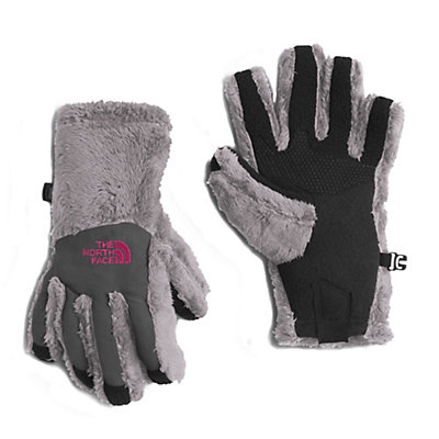 The North Face Denali Thermal Etip Girls Gloves, Metallic Silver, viewer