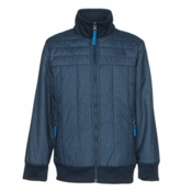 The North Face Boys Reversible Yukon Jacket, Cosmic Blue Denim Print, medium