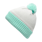 The North Face Youth Pom Pom Beanie Kids Hat, Lunar Ice Grey-Fanfare Green, medium