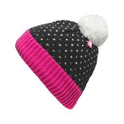 The North Face Youth Pom Pom Beanie Kids Hat, TNF Black-Cha Cha Pink, 256