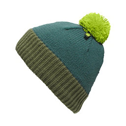 The North Face Youth Pom Pom Beanie Kids Hat (Previous Season), Deep Teal Blue-Terrarium Green, 256