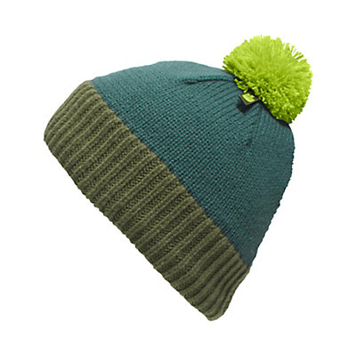 The North Face Youth Pom Pom Beanie Kids Hat, Deep Teal Blue-Terrarium Green, viewer