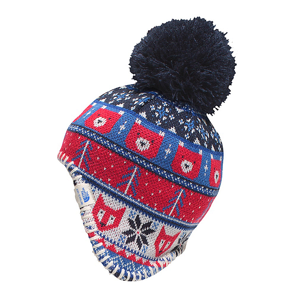 The North Face Baby Faroe Beanie Toddlers Hat, Cosmic Blue-TNF Red, 600