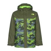 The North Face Brayden Insulated Boys Ski Jacket, Terrarium Green Mesh Camo, medium