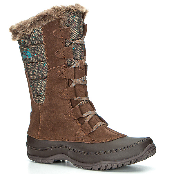 The North Face Nuptse Purna Womens Boots, Dark Earth Brown-Storm Blue, 600