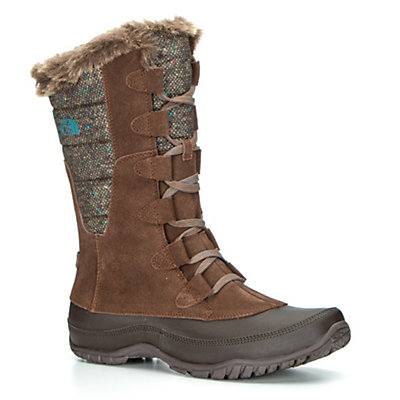 The North Face Nuptse Purna Womens Boots, Dark Earth Brown-Storm Blue, viewer