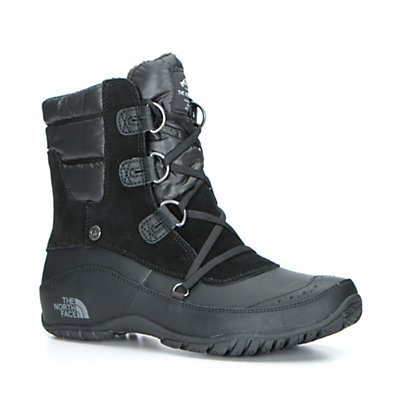 The North Face Nuptse Purna Shorty Womens Boots, TNF Black-Plum Kitten Grey, viewer