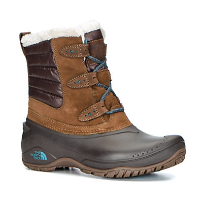 The North Face Shellista II Shorty Womens Boots, Dark Earth Brown-Storm Blue, viewer