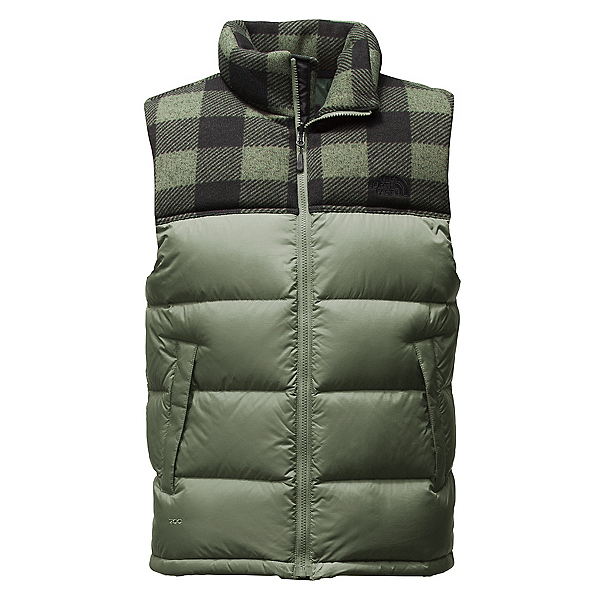 The North Face Nuptse Mens Vest, Duck Green-Duck Green Grizzly, 600
