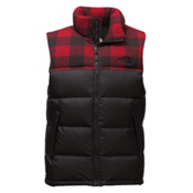 The North Face Nuptse Mens Vest, TNF Black-Cardinal Red Grizzly, medium
