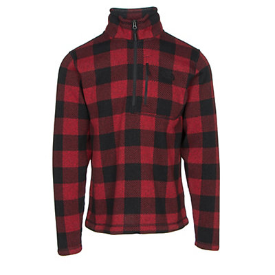 The North Face Novelty Gordon Lyons 1/4 Zip Mens Sweater, Cardinal Red Grizzly Print, viewer