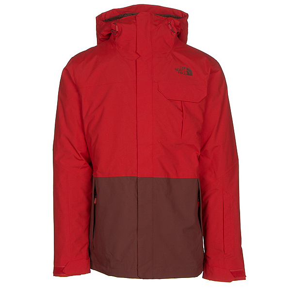 The North Face Gambit Triclimate Mens Insulated Ski Jacket, Fiery Red-Hot Chocolate Brown, 600