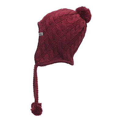The North Face Womens Fuzzy Earflap Beanie, Deep Garnet Red-Biking Red, viewer
