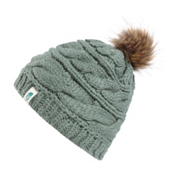 The North Face Triple Cable Fur Pom Beanie, Balsam Green, medium