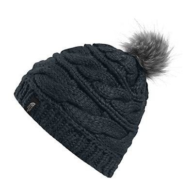 The North Face Triple Cable Fur Pom Beanie, Balsam Green, viewer