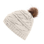 The North Face Triple Cable Fur Pom Beanie, Vintage White, medium