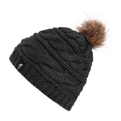 The North Face Triple Cable Fur Pom Beanie, TNF Black-Dijon Brown, medium